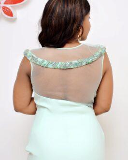 Sleeveless Netty Padded  Detailed Slit Dress