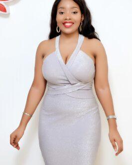 Shimmery Breast Padded Cross Neck Dress