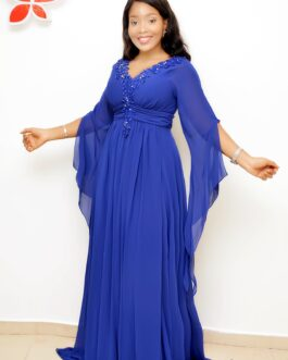 Chiffon Trimmed Padded Long Sleeve Gown