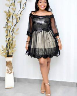 Off Shoulder Sequenced Short Sleeve Belt Dress