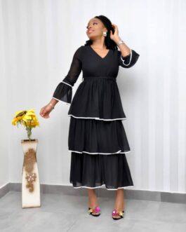 Layered Long Bell Sleeve Dress