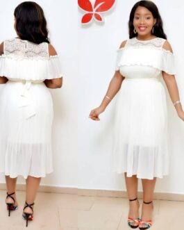 Netty Cold Shoulder Pleated Dress