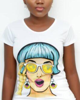 Animated Print Round Neck Short Sleeve Shirt
