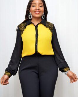Chiffon Lacey Shoulder Designed Shirt