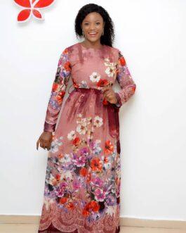 Flowery Maxi Dress with Belt