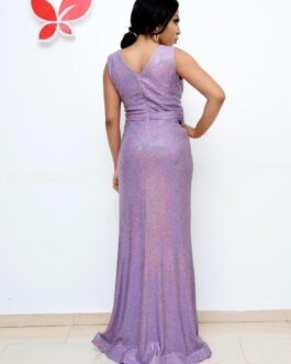 Breast padded detailed sequence dress purple