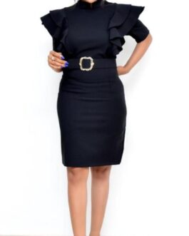 Corporate Open Chest Dress With Belt