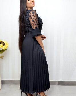 Laced Flowery Pleated Down Dress