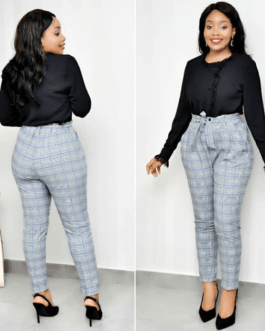 Corporate Checkered pant with styled belt